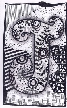 Zentangle, Letter J, ZebrA Letters, name, bunting
