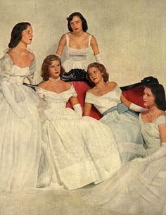 Debutantes at the Debutante Cotillion Ball, benefitting the Nw York Informary, December 20, 1948. Left to Right: Cornelia Duryea, Cynthia Cogswell, Joan Lloyd, Grace Dyer, and Sarah Pell. 1.10.11: Madame Bovary's Daughter | New York Social Diary