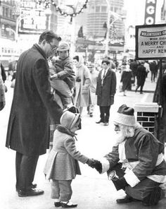 Santa Claus Shakes Hands With Little Girl Chicago 1965 S