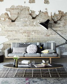 I love the combination of the mid-century style furniture, peeling brick wall, and antlers in this shot.