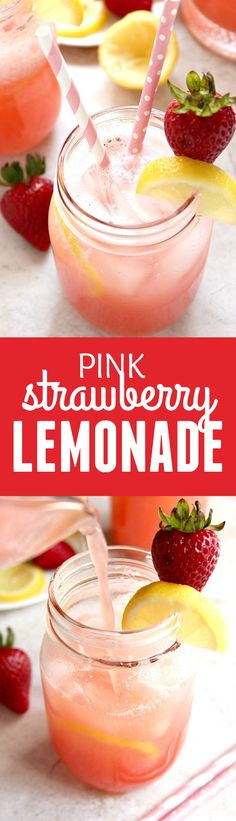 Easy Strawberry Lemonade recipe - fresh strawberries and lemon juice make this pink lemonade the perfect thirst quencher for the summer! Make a whole pitcher in minutes and you are all set for the next summer soiree!