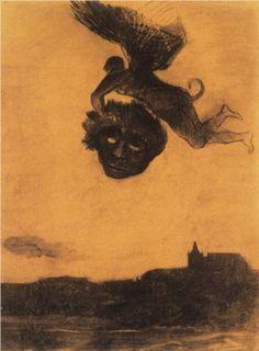 Devil take a head in the air - Odilon Redon