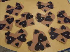 Chester Raccoon from The Kissing Hand book made out of hearts