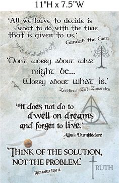 Inspirational Wizard Quotes - Foam Board Sign  Richard Rahl, Legend of the Seeker, Sword of Truth, Harry Potter, Albus Dumbledore, Gandalf the Grey, Lord of the Rings, Zeddicus Zuhl Zorander  There is only one thing better then our fandoms...mixing them. This inspirational wizard quote board mixes, Harry Potter, Lord of the Rings and Sword of Truth (Legend of the Seeker). Three of my favorite fandoms all holding my favorite wizards.