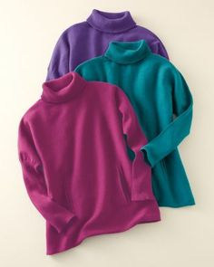 Girls' Oversized Turtleneck Sweater - Teal