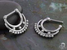 Steel Duo Beaded Septum Clicker Septum Jewelry, Body Jewelry, Septum Clicker, 316l Stainless Steel, Gauges, Piercing, Bracelets, Earrings, Silver