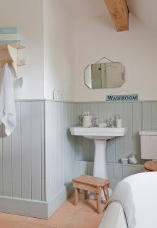 like the white, paint color, natural wood details, wood paneling. Calming energy