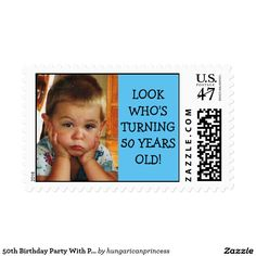 50th Birthday Party With Photograph Postage Stamp