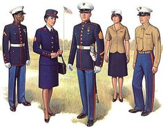 The light uniform to the left is known as the Desert Combat Utility Uniform, worn only by Marines. The darker uniform to the right is known as the Woodland Combat Utility Uniform. The Utility Uniform. Us Marine Corps, Marine Corps Dress Blues, Marine Corps Uniforms, Usmc Dress Blues, Military Uniforms, Us Marines Uniform, Military Men, Military History, Us Navy