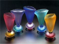 Hand Blown Glass Vases by Stephen Cox
