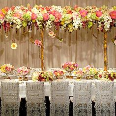 One of my ultimate wedding design idols is none other than Preston Bailey (whom I had the lucky chance to interview awhile back! Wedding Chairs, Wedding Reception Decorations, Wedding Centerpieces, Reception Ideas, Tall Centerpiece, Centrepieces, Tree Centerpieces, Wedding Tables, Reception Table