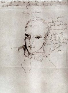 Zelda Fitzgerald: F. Scott Fitzgerald - October 1934 - Sketch from a letter to Scott Scott And Zelda Fitzgerald, The Beautiful And Damned, This Side Of Paradise, Jazz Age, American Art, Authors, Writers, Art Prints, 1930s