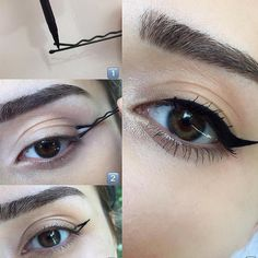 No effing way! LOOK at this trick for a winged eyeliner Cham.- No effing way! LOOK at this trick for a winged eyeliner No effing way! LOOK at this trick for a winged eyeliner – – - Eyeliner Hacks, Cat Eyeliner, How To Apply Eyeliner, Applying Eyeliner, Eyeliner Pencil, Eyeliner Brands, Silver Eyeliner, Bold Eyeliner, Eye Makeup Tutorials