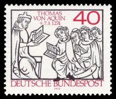 Thomas von Aquin auf Briefmarke der Bundespost von 1974