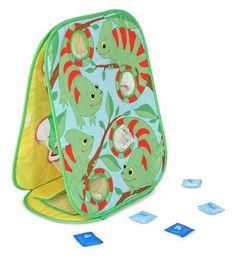 Diana de camaleones para niños, cada saquito tiene que meterse en su hueco.