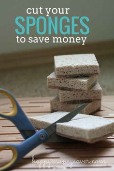Super thrifty tip: Cut your sponges, scrubbers, magic erasers and even dryer sheets in half to save money! thrifty tips money saving tips Frugal Living Tips, Frugal Tips, Organizing Hacks, Cleaning Hacks, Coupon Organization, Cleaning Supplies, Saving Ideas, Money Saving Tips, Money Savers