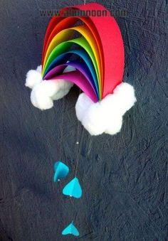 rainbow craft - construction paper, glue, twine, cotton balls - Basteln mit Kids - Welcome Crafts Kids Crafts, Bible Crafts, Summer Crafts, Preschool Crafts, Projects For Kids, Diy For Kids, Diy And Crafts, Craft Projects, Arts And Crafts