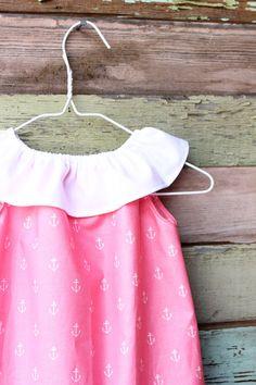 Girls Anchor Ruffle dress pink royal blue beach by plainjanesstore, $18.00