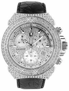 Giogio Black Croco-stamped Calf Leather Band Diamond Chronograph Watch