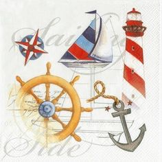 Due North #Nautical Lunch Napkins. Nautical Party Supplies