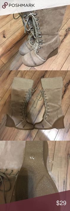 👢👢👢Wedge lace up boots 🎉 wedge lace up boots .. good condition, size 8, zip up side . Little too big for me I bought them then tried them on 😒.. do not know brand .. bought from Consignment store.. only trying to get what I paid.. however you can bundle and save Shoes Winter & Rain Boots
