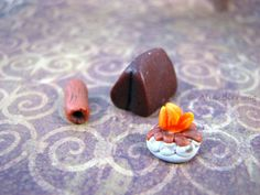 Tiny Camp Set Handmade Cernit Polymer Clay Collection by Outpost8, $10.00