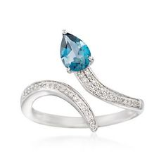 Ross-Simons - .60 Carat London Blue Topaz and .10 ct. t.w. Diamond Serpentine Bypass Ring in Sterling Silver - #872498