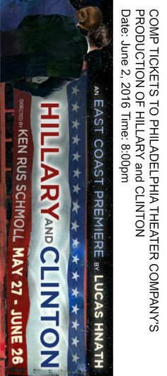 """#PhillyCalendar 6/2 """"Hillary and Clinton"""" by Lucas Hnath see comp through Tinsel & Tine"""