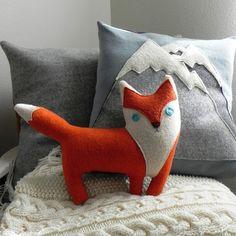 the Fox plush wool pillow // ThreeBadSeeds on Etsy