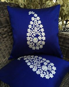 Buy World Luxury Home Accessories & Cushion Pillow Covers Shopping Online In India, USA, UK Blue Cushion Covers, Cushion Cover Designs, Diy Pillow Covers, Cushion Embroidery, Embroidered Cushions, Hand Embroidery Videos, Hand Embroidery Designs, Diy Cushion, Furniture Covers
