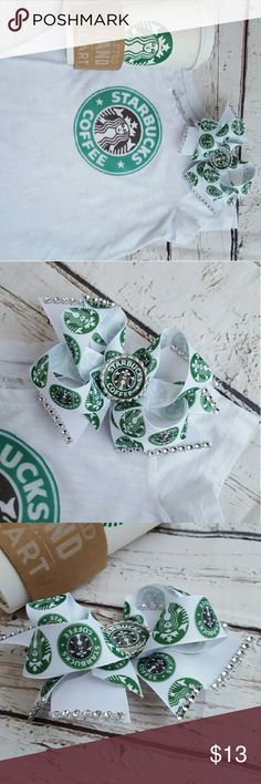 Girls Starbucks Inspired Shirt &Bow Set Sz 6 Girls white cotton short sleeve shirt with iron on logo transfer design size 6/7 with matching starbucks hairbow. Both are in excellent condition. please turn shirt inside out to wash and HANG DRY to ensure transfer lasts as long as possible.  You are purchasing both items. (cup not included ;)  #ravenkittyminis #size6 #size7 #starbucks #starbucksgirl #coffee #coffeelove #Hairbow #boutique #set #bundle #bowset #shirt #spring #layer #shopoholic…