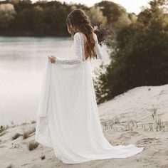 LORIE Beach Wedding Dress Long Sleeve Boho Vanadium-Nute Open Back Wedding Dresses 20 . LORIE Beach Wedding Dress Long Sleeve Boho Vanadium-Nute Open Back Wedding Dresses 2018 … Source by margret Chiffon Wedding Gowns, White Bridal Dresses, Western Wedding Dresses, Backless Wedding, Princess Wedding Dresses, Modest Wedding Dresses, Boho Wedding Dress, Bridal Gowns, Lace Chiffon