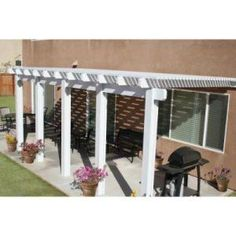 Classic 22 ft. x 10 ft. Aluminum Attached Open Lattice Patio Cover-1262006701022 at The Home Depot