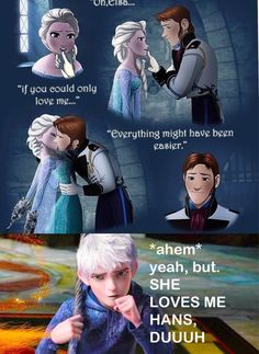 Hans and Elsa, this comic is an interesting idea for how Frozen could have been. NOPE the art is very good but Elsa is chained and Hans is forcing her to kiss him when she clearly doesn't want to, this is disgusting Disney And Dreamworks, Disney Pixar, Walt Disney, Disney Jokes, Funny Disney Memes, Cartoon Memes, Disney Cartoons, Funny Memes, Cute Disney
