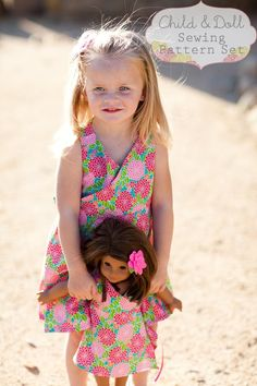 INSTANT DOWNLOAD- Kate Wrap Around Dress Child and Doll PDF Sewing Pattern set and Tutorial, $9.00