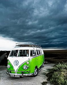 love the bright neon green on the van. love that intensely rich and textured blue sky. what a great shot.