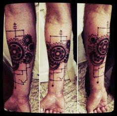 Steampunk tattoo - My right arm tattoo Line Tattoos, Trendy Tattoos, Sexy Tattoos, Tattoos For Guys, Tatoos, Japanese Sleeve Tattoos, Sleeve Tattoos For Women, Steampunk Tattoo Sleeve, Gear Tattoo
