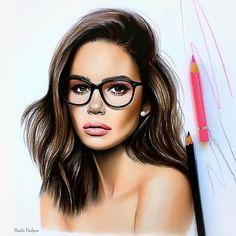 "Natalia Vasilyeva ( - ""New Beauty in glasses✏️"" Beauty Illustration, Portrait Illustration, Portrait Sketches, Portrait Art, Arte Fashion, Fashion Design, Makeup Drawing, Fashion Artwork, Watercolor Fashion"