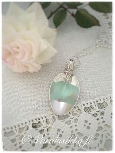 "Silvers spoon necklace with sea glass, hand made from vintage silver spoon. This necklace is called ""Aava"" in Finnish, which means open sea. Spoon Necklace, Silver Spoons, Aqua Blue, Vintage Silver, Sea Glass, Jewlery, Jewelry Making, Pearl Earrings, Beach"