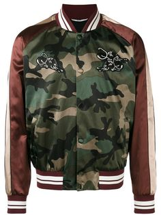 Shop Valentino patch appliquéd bomber jacket.