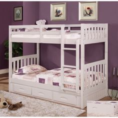 Shop for American Furniture Classics Model Solid Pine Twin/Twin Bunk Bed with Roll out Twin Trundle Bed in White. Get free delivery On EVERYTHING* Overstock - Your Online Furniture Outlet Store! Get in rewards with Club O! White Bunk Beds, Wood Bunk Beds, Modern Bunk Beds, Kids Bunk Beds, Bunk Beds With Drawers, Bunk Beds With Storage, Bunk Beds With Stairs, Under Bed Storage, Extra Storage