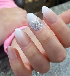 I really like when someone at the root or top of the nail put most rhinestones and with soft brush pull it up to the top or down to the root of nail. It is very easy to do and look very nice.