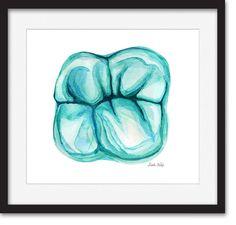 Maxillary Molar in Teal, Dental Art, Tooth Art, Dentist Art, Watercolor Print by LyonRoad on Etsy https://www.etsy.com/listing/226143898/maxillary-molar-in-teal-dental-art-tooth