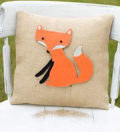 Foxy Decorative Felt Fox Burlap Pillow 14x14 by lollipoppillows, $28.99 - Taylor