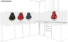 Fotografische keukenachterwand op maat: Spoonful of Fruit Kitchen Cabinets, Home Decor, Stain Cabinets, Decoration Home, Interior Design, Home Interior Design, Dressers, Kitchen Shelves, Home Improvement