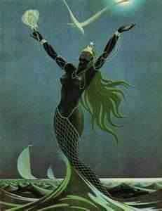"""Yemanja"" Yoruban Goddess of the Sea- girls have a book about her :)"