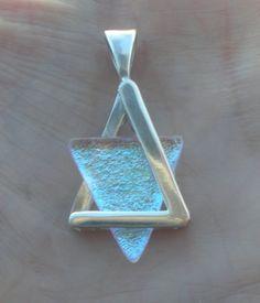 Star of david magen david silver glass symbol of Israel necklace