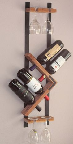 Wall Wine Rack is made with Natural unfinished Redwood & hand-hammered iron straps adding to the unique look in the Milan Italian style.