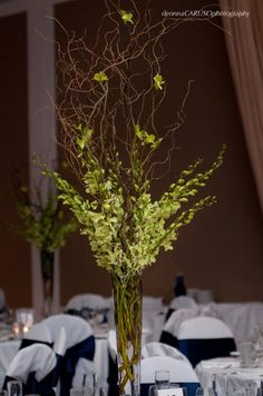 orchids & branches centerpieces