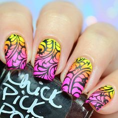 """Ana✨Nail Art-Tutorial-Swatches en Instagram: """"Neon and easy design!! I use following . Pueen stamping plate Fancy Lover 02 and Luxury stamper by @pueencosmetics #pueencosmetics . Neon yellow, Neon magenta and Neon purple @chickpickpolish . Ya Qui An stamping polish @bornprettystorenailart (With my code FML91 you can get 10% off at www.bornprettystore.com) . ❤️Happy Sunday❤️"""""""